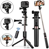 Selfie Stick Bluetooth, KUSKY 4-in-1 Extendable Selfie Stick Tripod with Wireless Remote Shutter for iPhone X/8/8P/7/7P/6s/6P, Galaxy S9/S9 Plus/S8/S7/ S6/S5/Note 8, Google, Huawei and More (Color: Black)