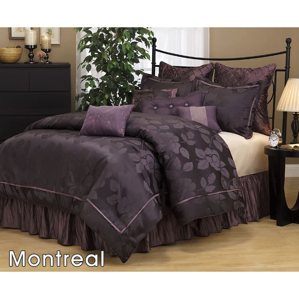 discount comforter sets 7 pc modern purple black embroidered comforter set. Black Bedroom Furniture Sets. Home Design Ideas