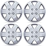 BDK KT-978-15_AMwng1 Silver Hubcaps Wheel Protection (15 Inch,4 Lug Nuts, OEM Replacement, Easy Installation, Total 4 Pieces (2 Front 2 Rear))