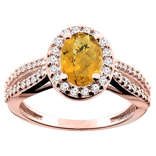 9ct White/Yellow/Rose Gold Natural Whisky Quartz Ring Oval 8x6mm Diamond Accent 7/16 inch wide, sizes J - T