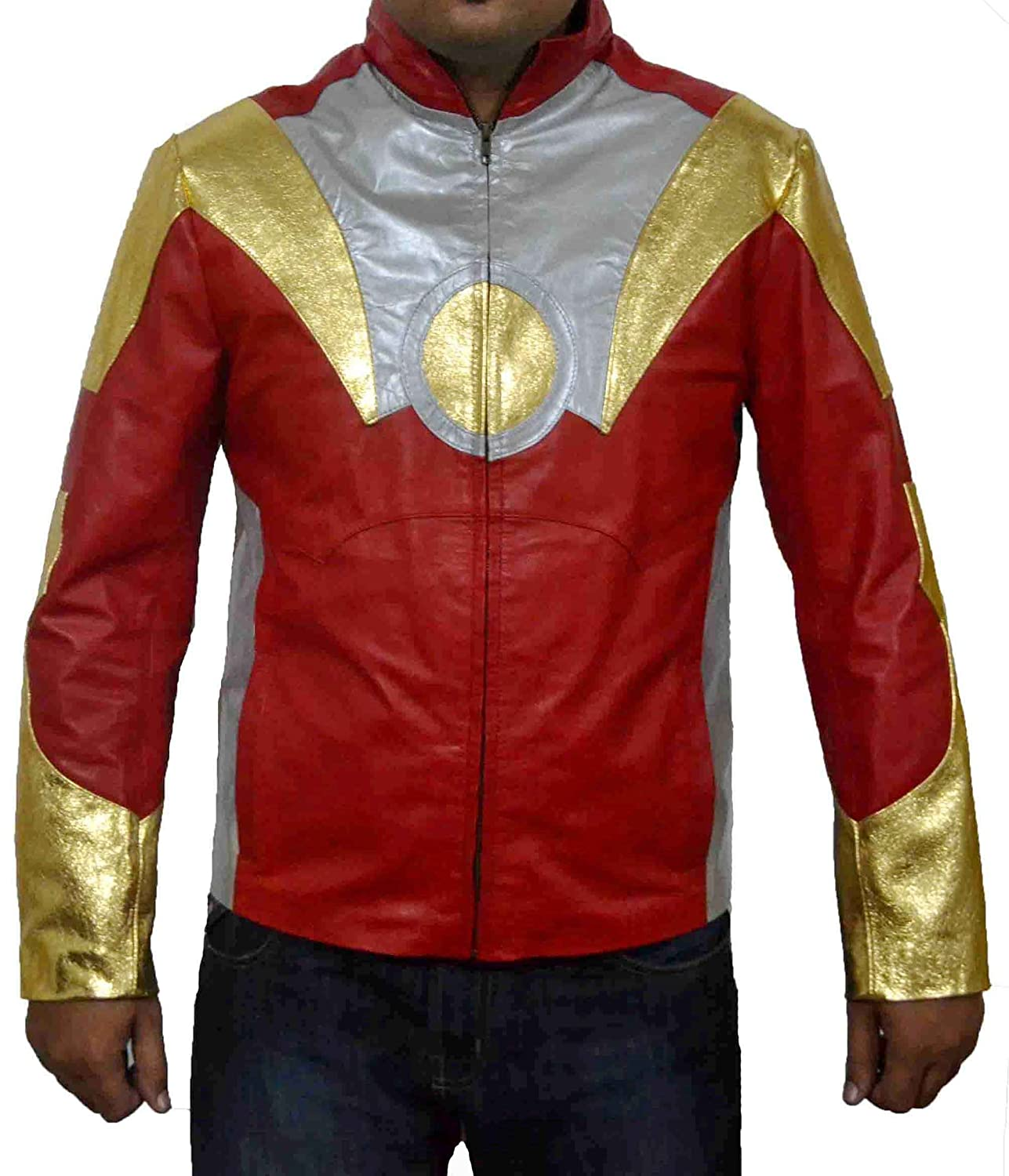 HLS Iron Man Tony Shark Special Golden Silver Red Sheep Leather Jacket