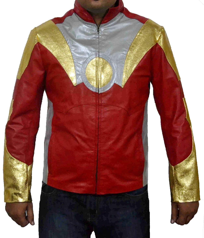 HLS Iron Man Tony Shark Special Golden Silver Red Sheep Leather Jacket online bestellen