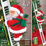 Rojuicy Electric Climbing Santa Claus on Ladder, Animated Musical Holiday Decoration with Internal Speakers - Indoor Christmas Decoration (Color: 01, Tamaño: AS SHOWN)