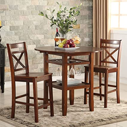 1PerfectChoice Tartys 3pcs Counter Ht. Dining Set Drop Side Leaves Table Wine Rack Chair Cherry