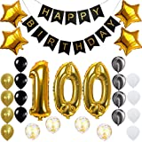 Happy 100th Birthday Banner Balloons Set for 100 Years Old Birthday Party Decoration Supplies Gold Black (Color: 100th, Tamaño: 25)