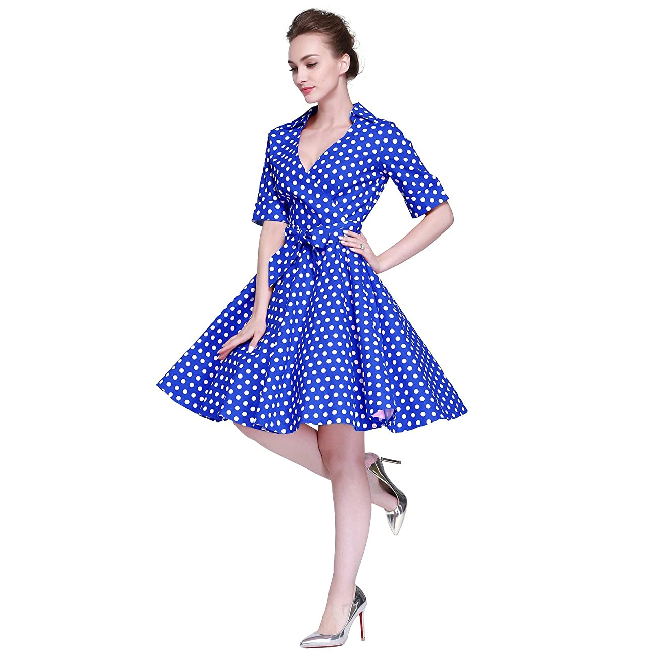 Heroecol Womens Vintage 1950s Dresses Cross V Neck Short Sleeve 50s 60s Style Retro Swing Cotton Dress 3