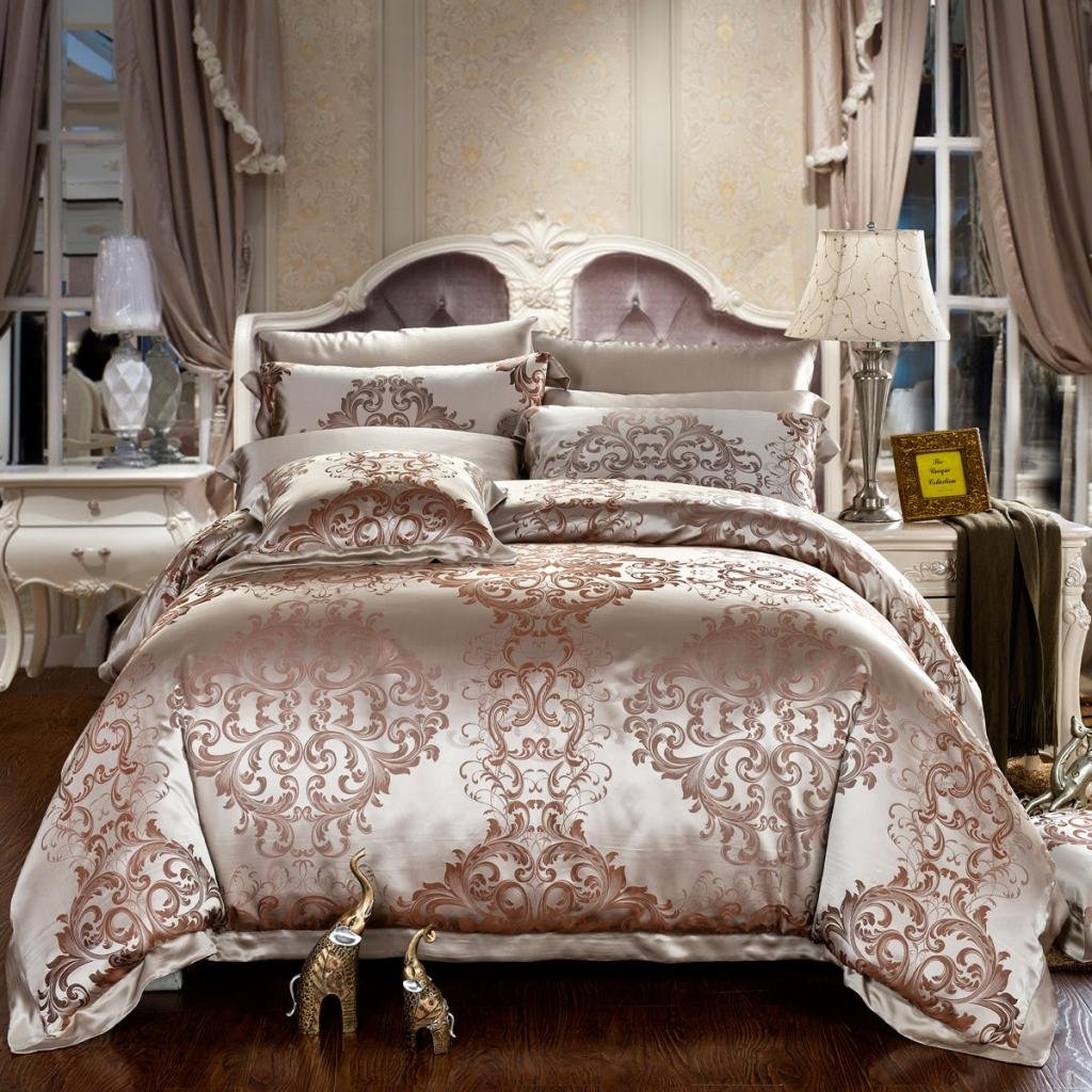 Orifashion Luxury 5-Piece 100% Silk Browm Pattern Yarn-dyed Jacquard And Charmeuse Bedding Set , California King Size
