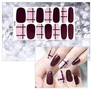 6 Sheets Full Nail Art Polish Stickers Strips Self-Ashesive False Nail Design Manicure Set With 1Pc Nail Buffers Files (Color: Colorful-2)