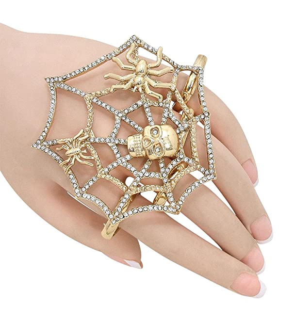 Amazon: Goldtone Halloween Spider Web Skull Four Finger Stretch Ring