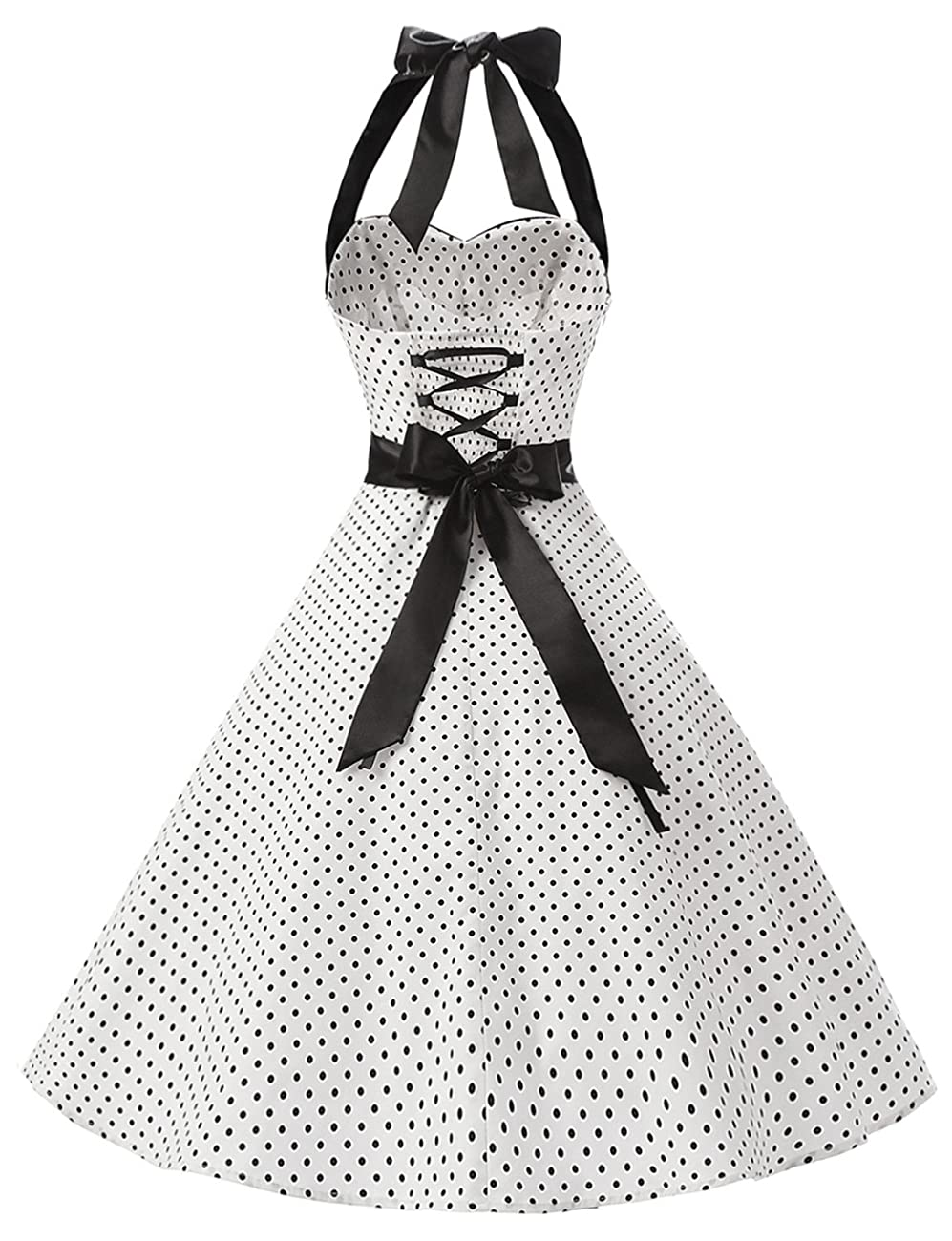 Dressystar Vintage Polka Dot Retro Cocktail Prom Dresses 50's 60's Rockabilly Bandage 3