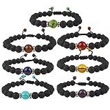 YISSION 7 Pack 7 Chakras Stones Bracelet Stretch Bracelets Healing Power Adjustable Bracelet, Unisex
