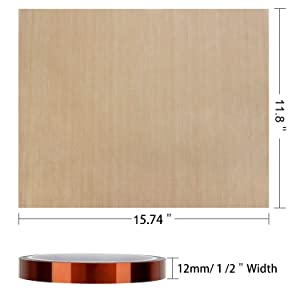 2 Pack Teflon Sheet Paper and 2 Pack Heat Tape High Temp Tape Heat Press Transfer Sheet for Vinyl Heat Press Heat Resistant Craft Mat