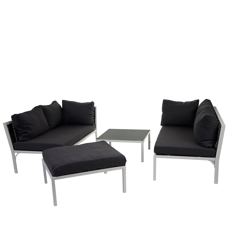 Poly-Rattan Sofa-Garnitur Delphi, Sitzgruppe Lounge-Set, Stahl ~ Set 3, Kissen anthrazit günstig