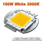 Hontiey High Power LED Chip 100W Warm White Light 3000K-3500K Bulbs 100 Watt Beads DIY Spotlights Floodlight COB Integration Lamp SMD (Color: Gold, Tamaño: 1Pcs 100 Watts)