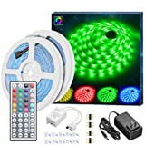 Led Strip Lights Kit, Govee 32.8Ft RGB Light Strip with IR Remote, Controller Box and Support Clips Ideal for Room, Bedroom, Home, Kitchen Cabinet, Party Decoration 12V/3A Power Supply, Non-waterproof (Color: Multi-color, Tamaño: 32.8 FT)