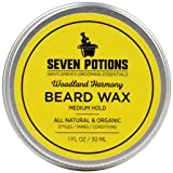Seven Potions Beard Wax 1 oz. Natural And Organic Beard Styling Wax For Medium Hold. Shape And Nourish Your Beard While Looking Natural. Doesn't Make The Beard Stiff (Woodland Harmony) (Color: Woodland Harmony, Tamaño: 1 oz)