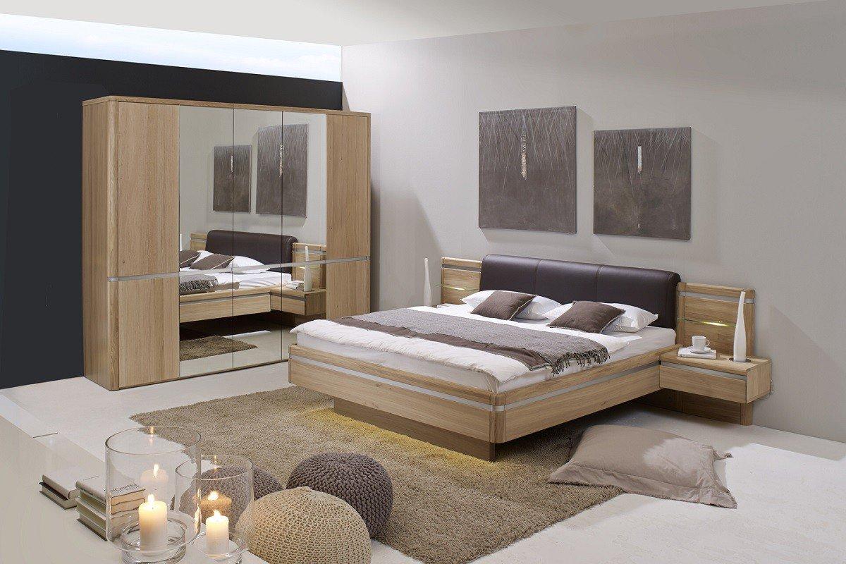 Dreams4Home Schlafzimmer 'Michigan' – 5trg. Kleiderschrank, Spiegeltür, Bett 180 x 200 cm, 2 x Nachtkonsole, Wandboard, ohne Matratze, ohne Lattenrost, in Eiche teilmassiv, furniert, Schrankzusatzteile:ohne Zusatzteile
