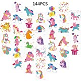 Unomor 144PCS Unicorn Temporary Tattoos for Kids Birthday Party Unicorn Party Supplies Girls Party Favors --24Patterns(2inchX2inch) (Color: Unicorn Tattoos)