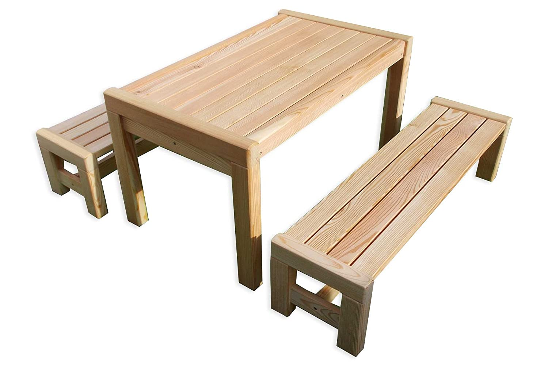 Sitzgarnitur Sarina Kinder-Tisch 2x Bank Holz Lärche Premiumqualität von Gartenpirat® jetzt kaufen