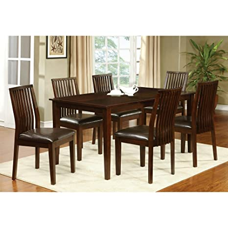 Furniture of America Alliani 7-Piece Dining Table Set - Walnut
