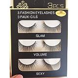 Sunniess Hair Imported Fiber Attractive 3D Mink Handmade Reusable Long Cross False Eyelashes Makeup Thick Natural Black Fake Eye Lashes 3 Pairs(3D-03)