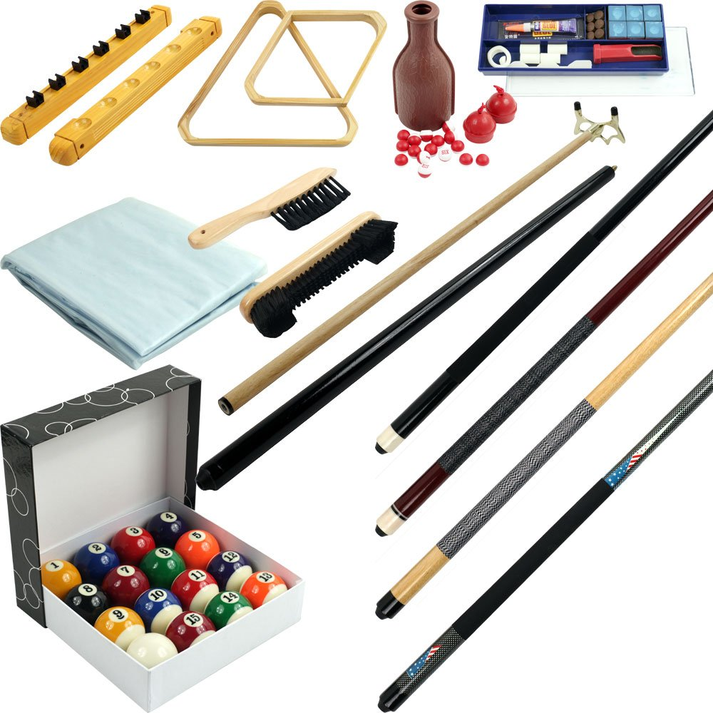 Pool cue billiard stick accessories kit 32 piece premium ball set triangle rack ebay - Billiard table accessories ...