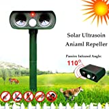 REARAND Infrared Ultrasonic Pest Repeller Animal Repellent Outdoor Solar Battery Powered Pest Reject Control Kit for Mouse, Rat, Bug, Spider, Roach, Ant, Mosquito, Fly