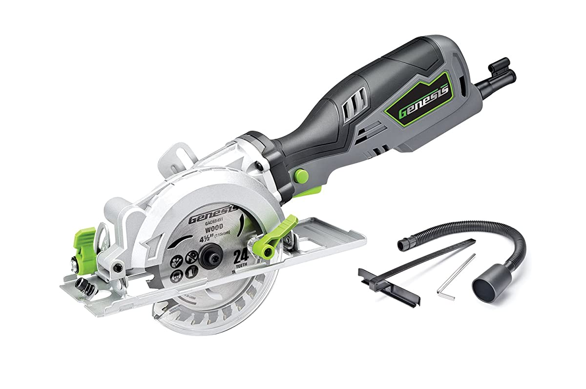 Genesis GCS545C 5.8 Amp 120 Volt 4-1/2 in. Control Grip Compact Circular Saw with Vacuum Adapter, Blade Wrench, and 24T Carbide Tipped Blade