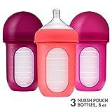 Boon NURSH Silicone Pouch Bottle 8oz 3pk - Pink Multi (Color: Pink, Tamaño: 8oz)