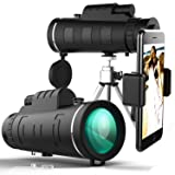 Yakalla Monocular Telescopes, 40X60 Travel Scope, Portable Telescope with Phone Clip and Tripod (Color: Black)