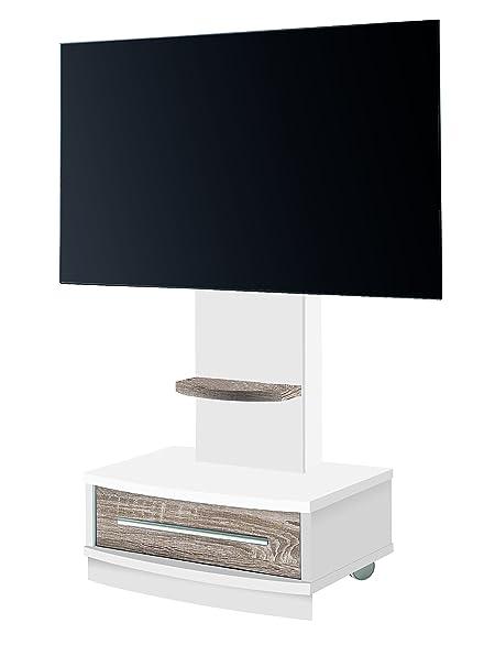 OVERHOME365 4239 B/CM - Mesa TV, madera, color blanco y cambrian, 72x50x131 cm