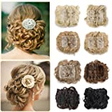 Combs Clip in Bun Claw Jaw on Updo Hairpiece Extensions Wavy Donut Chignons Wrap Around Scrunchy Blonde Brown Black (Color: Strawberry Blonde&bleach Blonde, Tamaño: 1 pc)
