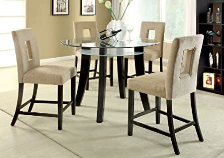 5 Pc. Grandam II contemporary style espresso finish round counter height dining table set with glass top