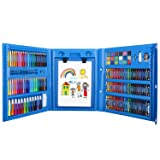 Zooawa 176 Pcs Art Set, Girls Art Kit Sketching and Drawing Handle Art Box with Oil Pastels, Crayons, Colored Pencils, Markers, Paint Brush, Watercolor Cakes, Sketchpad for Kids and Toddlers, Blue (Color: 02-Blue)