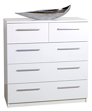 Furniture To Go Designer 2 Plus 3 Chest of Drawers, 91 x 85 x 40 cm, White