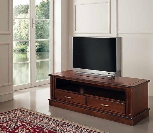 Porta TV basso in legno - Bianco