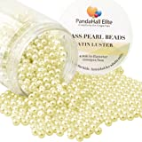 PandaHall Elite 4mm About 1000Pcs Tiny Satin Luster Glass Pearl Round Beads Assortment Lot for Jewelry Making Round Box Kit Champagne Yellow (Color: Champagne Yellow-1000 Pcs, Tamaño: 4~4.5mm)