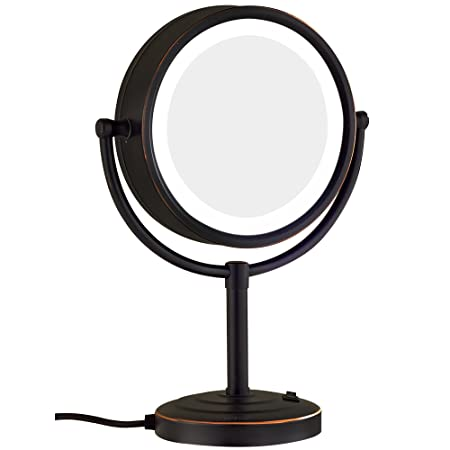 GuRun 8.5-Inch Tabletop Double-Sided LED Lighted Makeup Mirror with 10x Magnification,Oil-Rubbed Bronze M2208DO(8.5in,10x) by GuRun