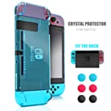 Dockable Case for Nintendo Switch, Protective Case for Nintendo Switch with a Tempered Glass Screen Protector and 6 Joy Stick Covers, Fit into The Dock Station - Blue (Color: Blue)