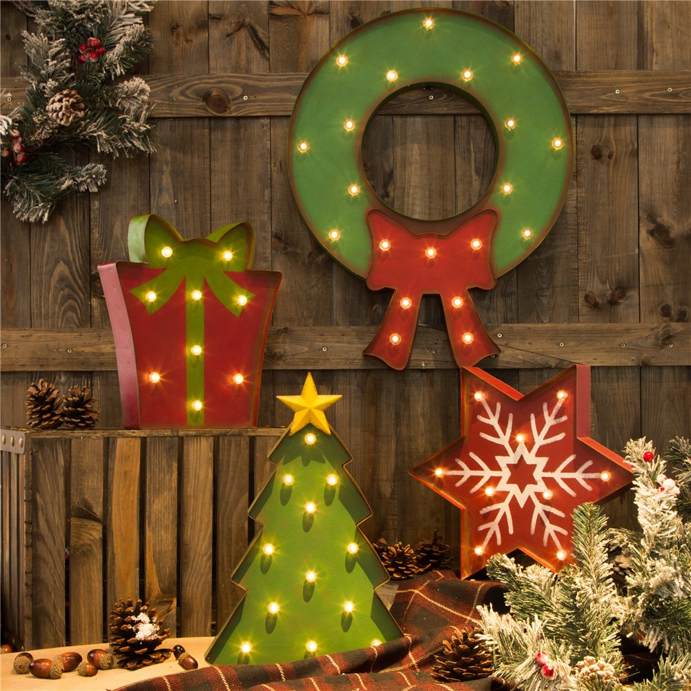 Glitzhome Vintage Marquee LED Lighted Wreath Sign Wall Decor Battery Operated 5