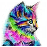 DIY 5D Diamond Painting Kit, Full Drill Cute Cat Embroidery Cross Stitch Arts Craft Canvas Wall Decor (Color: Cute cat., Tamaño: 11.8*11.8 inch)