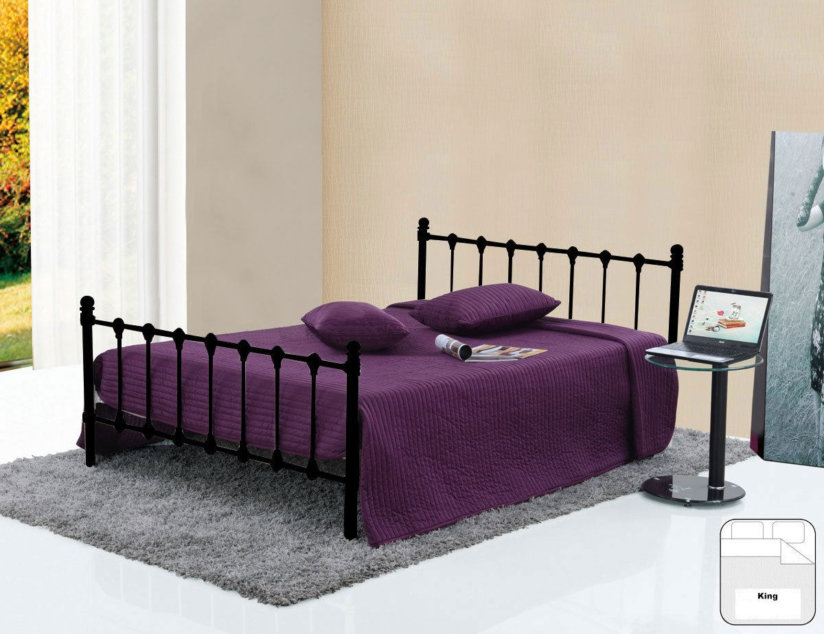 BENTLEY HOME BLACK GLOSS VICTORIAN STYLE ORNATE METAL 5FT BED FRAME  KING SIZE       review and more information