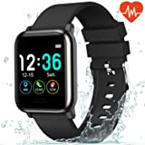 L8star Fitness Tracker Heart Rate Monitor-1.3'' Large Color Screen IP67 Waterproof Activity Tracker with 6 Sports Mode,Sleep Monitor,Pedometer Smart Wrist Band for Women Men, Android iOS (Color: Black)