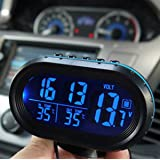 Yosoo Multi-functional 12V Car Auto LCD Digital Clock Thermometer Temperature Voltage Meter Monitor (Blue) (Color: Blue)