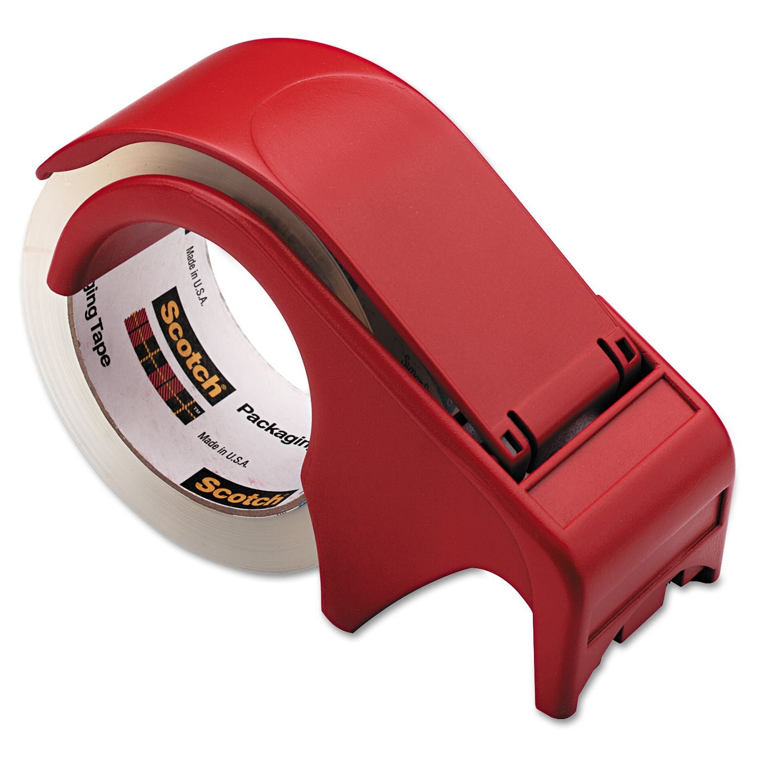 Scotch Compact and Quick Loading Dispenser for Box Sealing Tape, 3 Core, Plastic, Red kitmmmc32helmetsfunv72220 value kit scotch nfl helmet tape dispenser mmmc32helmetsf and universal smooth paper clips unv72220