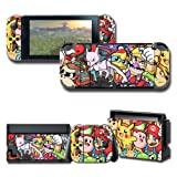 Protector Wrap Skin Decal for Nintendo Switch, Games Full Set Protective Faceplate Stickers Console Joy-Con Dock