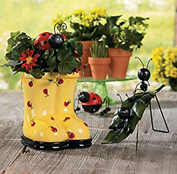 ᑎ Ladybug Rain Boot Planter Pot Galoshes Wellingtons Ceramic