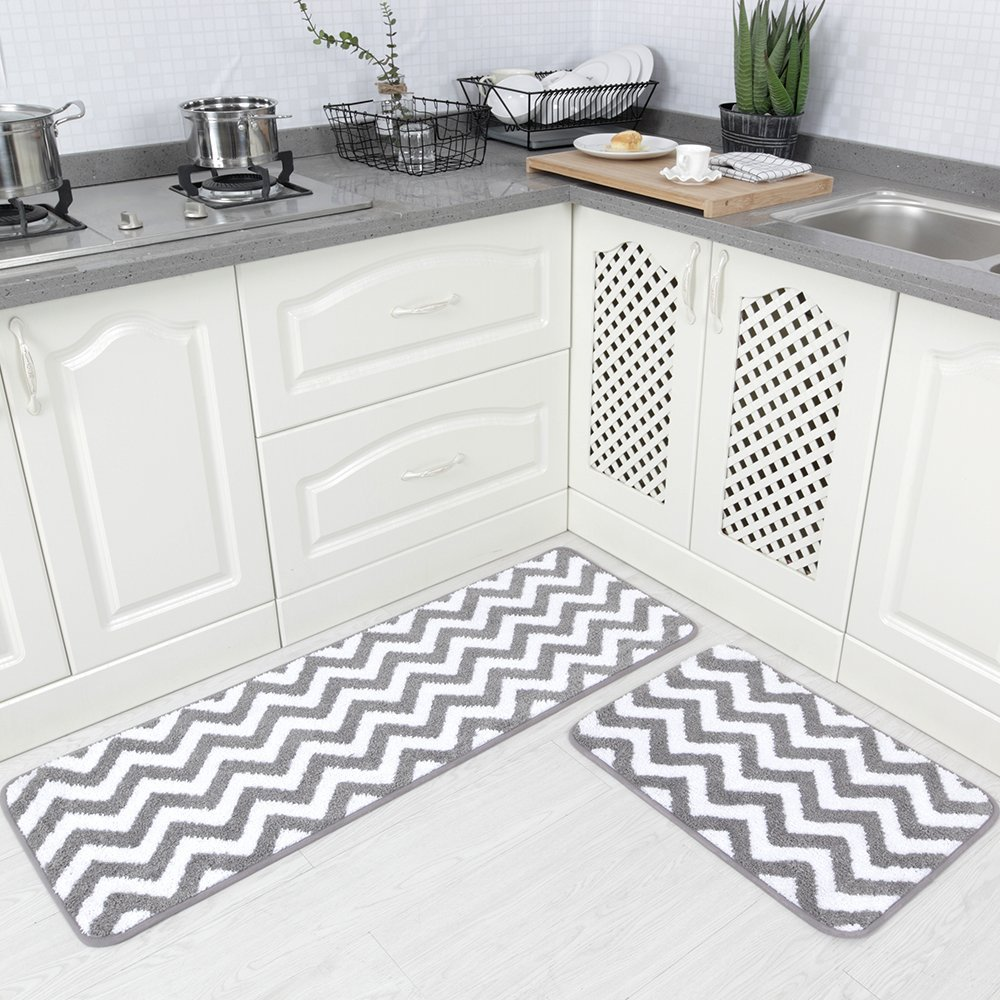 Carvapet 2 Pieces Microfiber Chevron Non Slip Soft Kitchen Mat Bath Rug  Doormat Runner Carpet Set, ...
