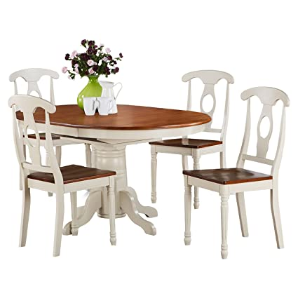East West Furniture KENL5-WHI-W 5-Piece Dining Table Set