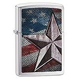 Zippo American Flag Star Pocket Lighter, Brushed Chrome (Color: Brushed Chrome, Tamaño: One Size)